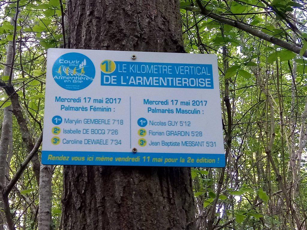 Plaque palmarès de la 1ere verticale de l'Armentièroise